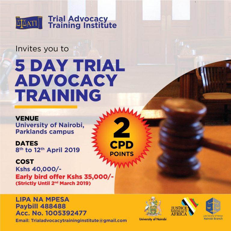 Trial Advocacy Training 8th-12th April 2019